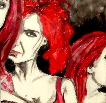 Band frauen rot, Malerei, Surreal