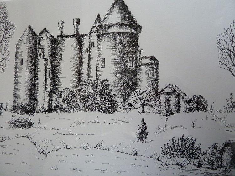 Tuschmalerei, Burg, Heidenreichstein, Zeichnungen