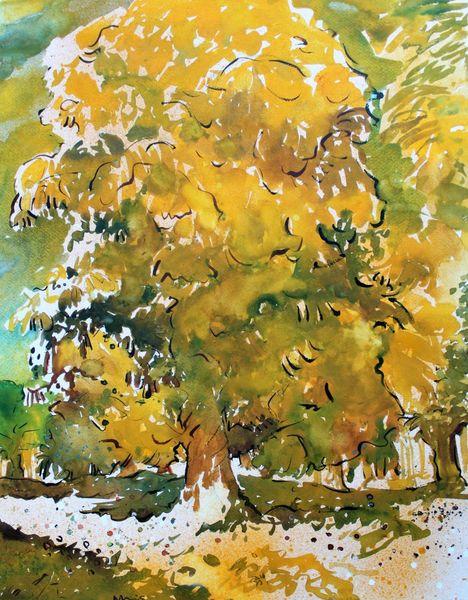 Baum, Kastanienbaum, Natur, Aquarell