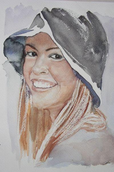 Portrait, Aquarellmalerei, Aquarell, Mädchen, Hut