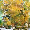 Natur, Baum, Kastanienbaum, Aquarell