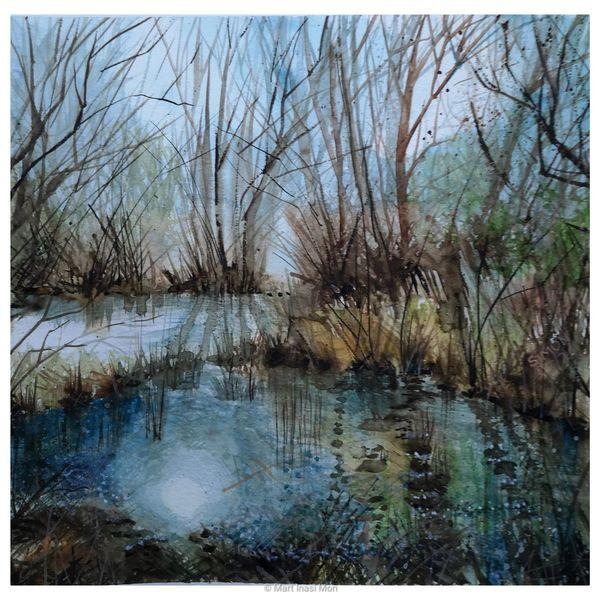 Fluss, Moor, Sumpf, Aquarell