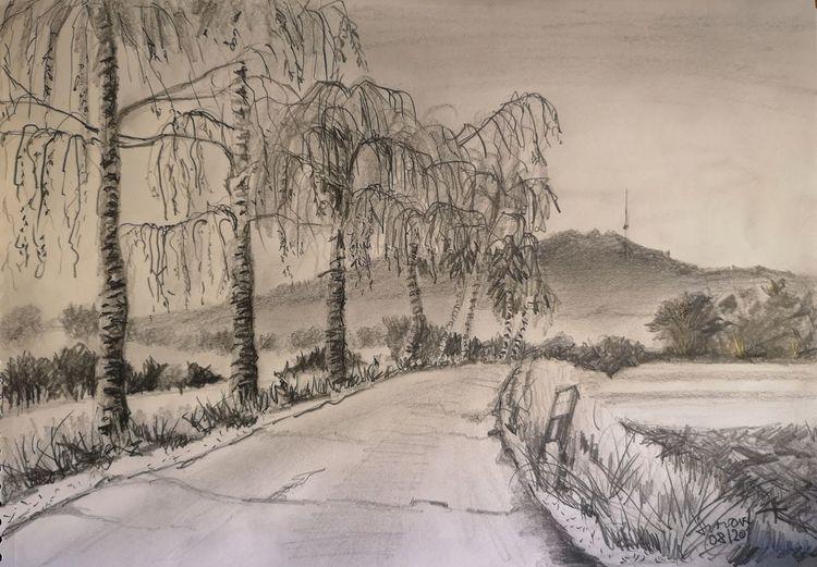Hesselberg, Birken, Landstraße, Zeichnungen