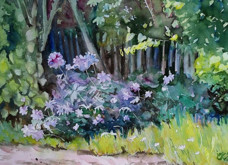 Storchenschnabel, Garten, Busch, Aquarell