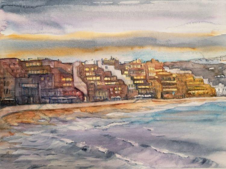 Playa, Strand, Aquarell