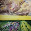 Blumen, Sturm, Feld, Aquarell