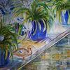 Agapanthus, Wasser, Ente, Aquarell