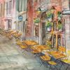 Straße, Strassencafé, Gaststätte, Aquarell