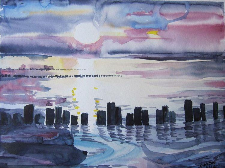 Sunset meer, Aquarell, Sonnenuntergang, Rügen