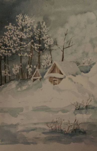 Winter, Hütte, Schnee, Rubbelkrepp, Aquarell, Winterlandschaft