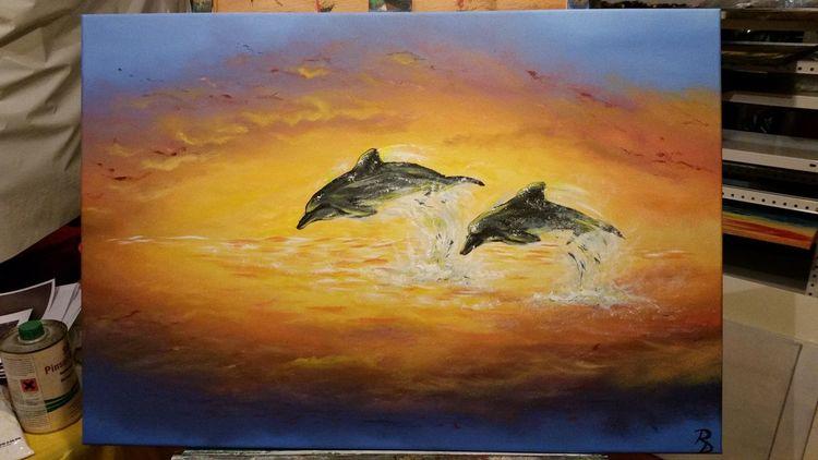 Warm, Sonnenuntergang, Wolken, Meer, Landschaft, Abendstimmung