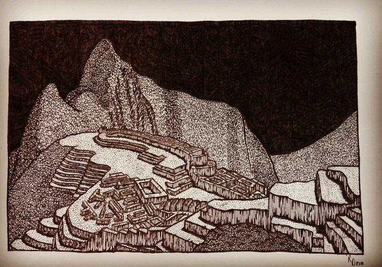 Macchupicchu, Fineliener, Peru, Dotwork, Kultur, Inkwork