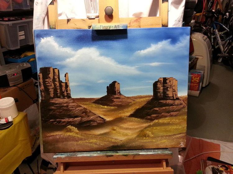Tal, Wiese, Berge, Stein, Trocken, Ölmalerei