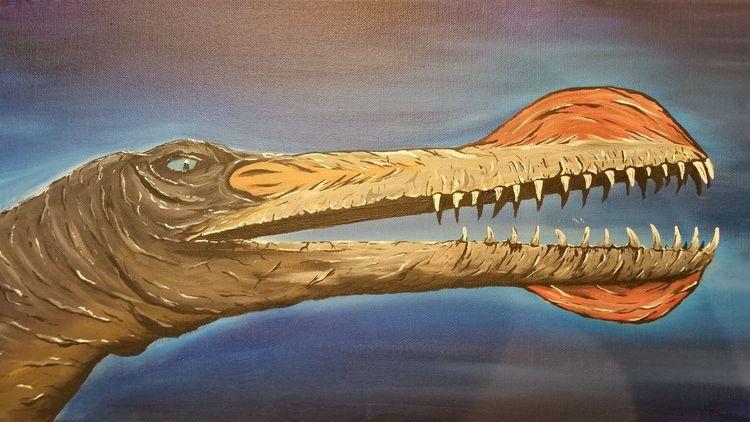 Tiere, Acrylmalerei, Dinosaurier, Ornithocheirus, Flugsaurier, Malerei