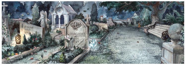 Illustration, Friedhof, Gräber, Aquarell