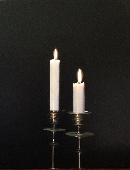 Ölmalerei realismus stilllben, Malerei, Kerzen