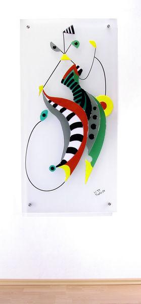 Bunt, Glas, Fusing, Modern, Dekoration, Abstrakt