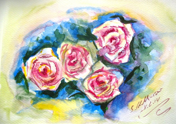 Strauß, Pflanzen, Freude, Malerei, Aquarellmalerei, Rose