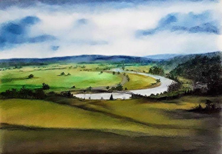 Fluss, Pastellmalerei, Wiese, Himmel, Wald, Wolken