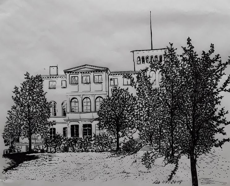 Alte häuser, Zeichnung, Landschaft, Villa, Schwarz weiß, Baum