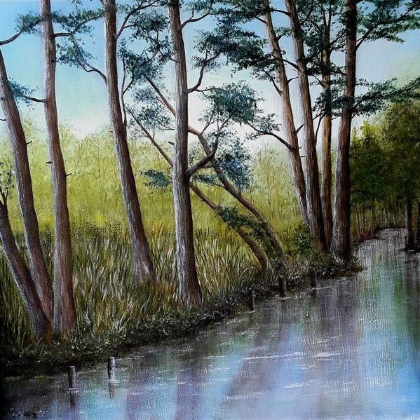 Landschaft, Weiß, Fluss, Baum, Acrylmalerei, Wasser