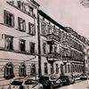 Schwarz weiß, Stadt, Federzeichnung, Alte häuser