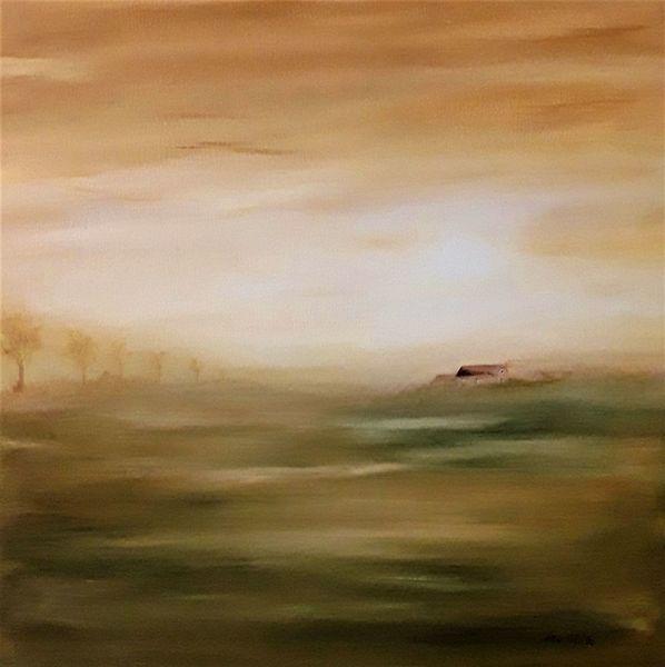 Feld, Sonne, Nebel, Straße, Sonnenaufgang, Landschaftsmalerei