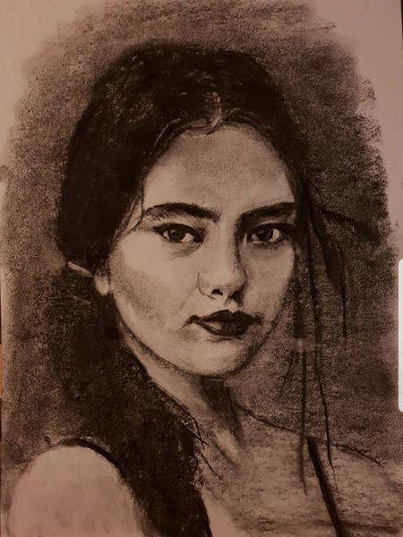 Mono, Venus, Mädchen, Portrait, Naiv, Kohlezeichnung