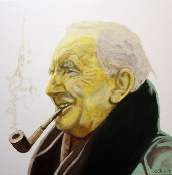 Tolkien, Bilbo, Smaug, Gandalf, Malerei, Portrait