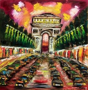 Paris, Ölmalerei, Triumphbogenn des siegs, Sieg, Rot, Landschaft