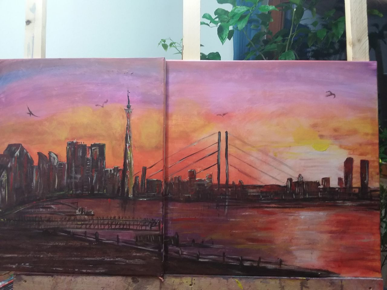 bild skyline d sseldorf acrylmalerei sonnenuntergang von mariontde bei kunstnet. Black Bedroom Furniture Sets. Home Design Ideas