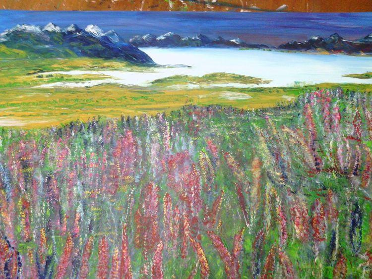 Malerei, Landschaft, Lupinen