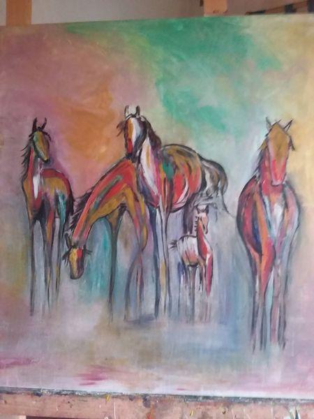 Pferde, Malen, Acrylmalerei, Bunt, Malerei, Tiere