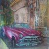 Pink, Oldtimer, Cadillac in kuba, 100x 100 cm