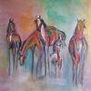 Bunt, Pferde, Malen, Acrylmalerei