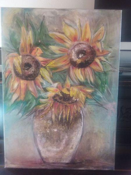 Gelb, Herbst, Acrylmalerei, Stimmung, Sonnenblumen, Malerei