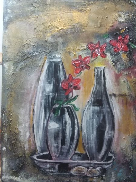 Struktur, Blumen, Vase, Malerei, Abstrakt
