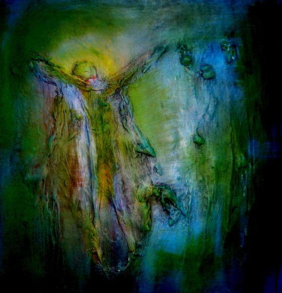 Kirche, Mischtechnik, Glaube, Auferstehung, Malerei