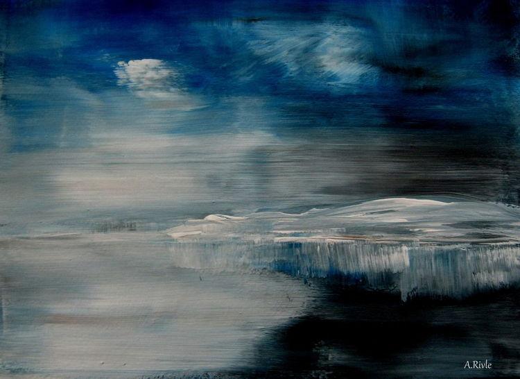 Eisberg, Meer, Wasser, Himmel, Mischtechnik