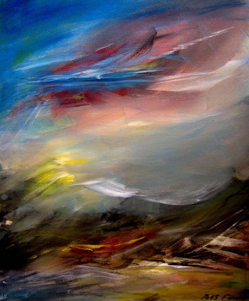 Himmel, Sonne, Wolken, Acrylmalerei, Berge, Landschaft