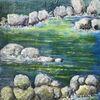 Fluss, Wasser, Ufer, Steine felsen