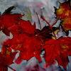 Laub, Herbst, Blätter, Aquarell