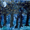 Wald, Mond, Baum, Mischtechnik