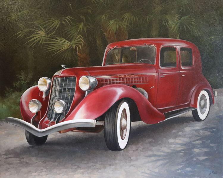 Oldtimer, Auto, Ölmalerei, Gemälde, Malerei