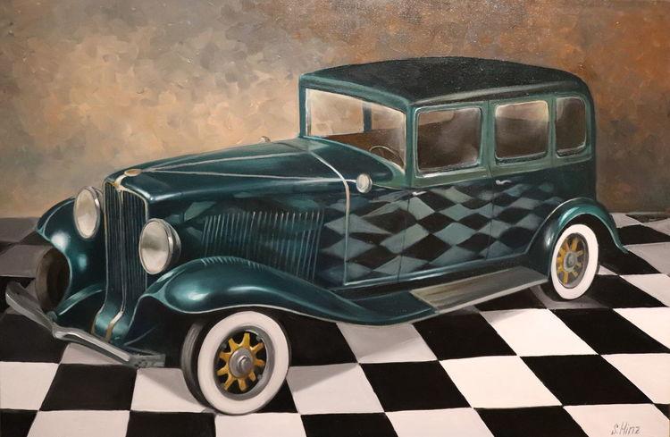 Oldtimer, Malerei, Auto, Ölmalerei, Gemälde