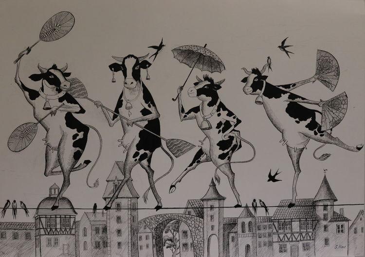 Tiere, Kuh, Grafik, Zeichnungen