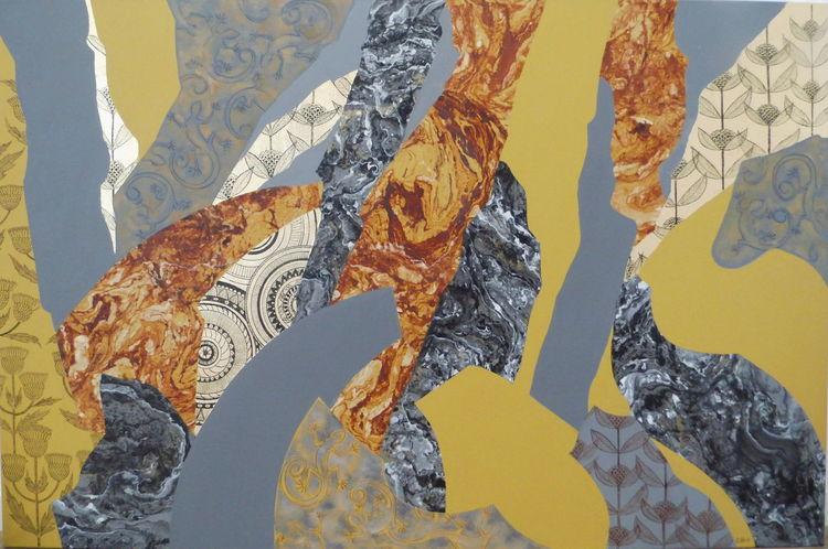 Grafik, Abstrakt, Ölmalerei, Gold, Malerei, Tusche