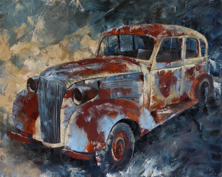 Malerei, Abstrakt, Auto, Ölmalerei, Gemälde, Oldtimer