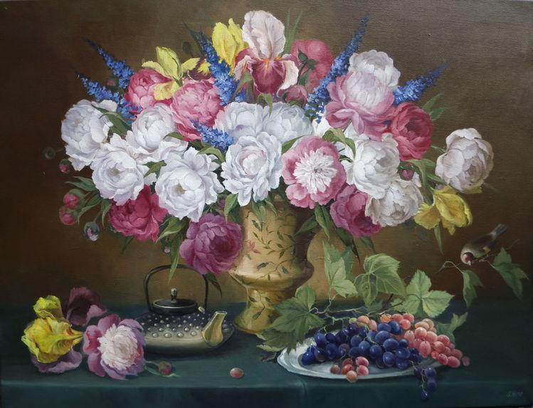 Gemälde, Ölmalerei, Weiß, Pfingstrosen, Blumen, Stillleben