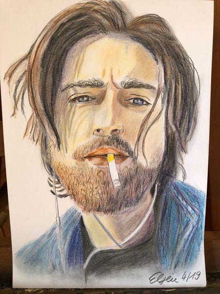 Mann, Bart, Portrait, Buntstiftzeichnung, Zeichnungen